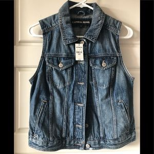 Express sleeveless jean jacket
